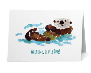 "Sea Glass Sea Otter ""Welcome, little one!"" New Baby Card"