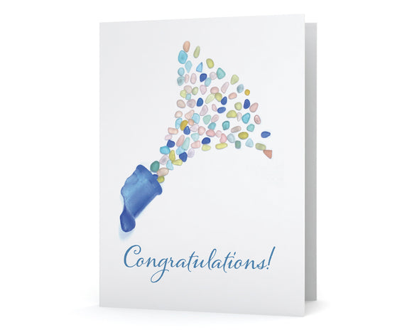 Sea Glass Champagne Congratulations Card