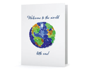 "Sea Glass Globe ""Welcome to the world little one!"" New Baby Card"