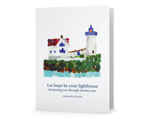 "Sea Glass Lighthouse Sympathy Card ""Let hope be your lighthouse beckoning you through stormy seas."""
