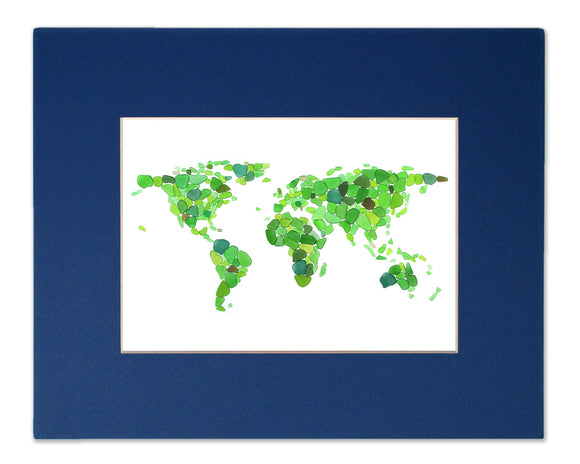 Sea Glass World Map - Seaglass Art Mosaic Globe & Continents Matted Print