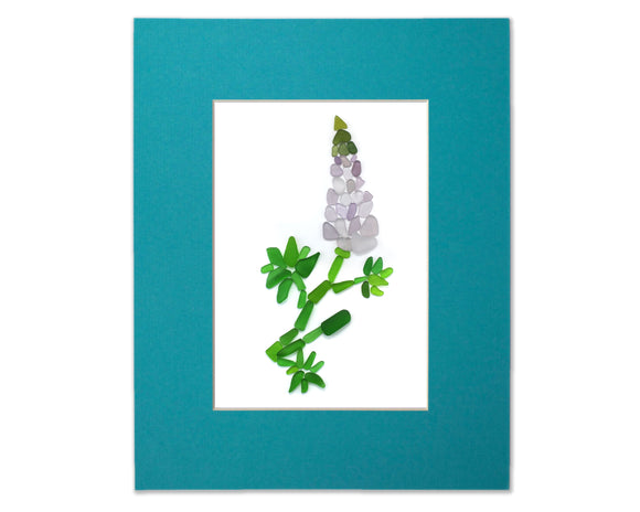 Sea Glass Lupine - Seaglass Art Mosaic Wildflower Matted Print