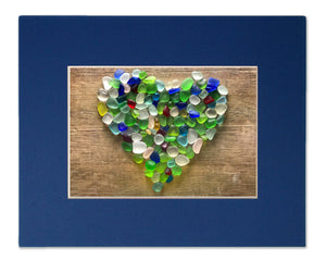 Sea Glass Heart on Wood Matted Print