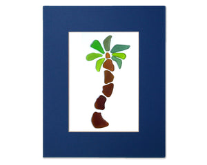 Sea Glass Palm Tree - Seaglass Art Mosaic Matted Print