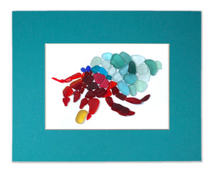 Sea Glass Hermit Crab - Seaglass Art Mosaic Matted Print