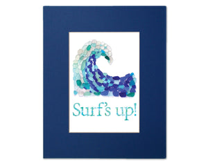 "Blue Sea Glass Crashing Wave ""Surf's Up"" - Seaglass Art Mosaic Matted Print"