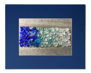 Blue Sea Glass Ombre Matted Print