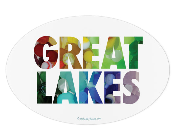 Great Lakes Beach Glass Laptop or Bumper Sticker