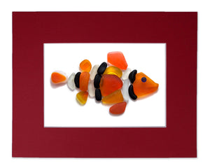 Sea Glass Clown Fish - Seaglass Art Mosaic Matted Print