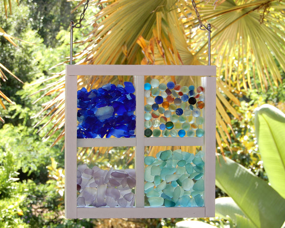Wanderer Bling Beach Glass Display with Dividers - White or Wood
