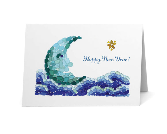 "Sea Glass Moon ""Happy New Year"" Card - Seaglass Art Mosaic Print, Half Moon in a Sea of Clouds, Beach Glass Star - Single, Pack 8, or 12"