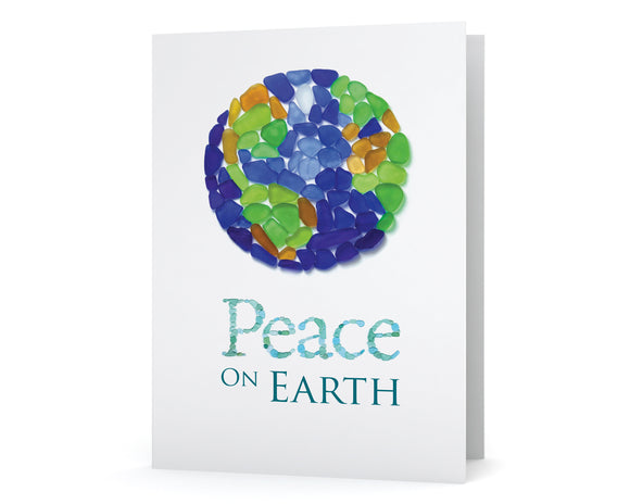 Sea Glass Peace on Earth Holiday Cards - Seaglass Art Mosaic World Globe Print - Single, Pack 8, or Pack of 12