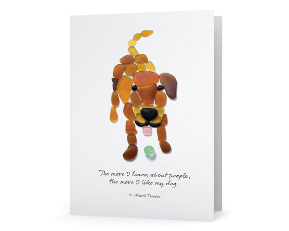 "Sea Glass Dog ""The more I learn about people, the more I like my dog."" Card"