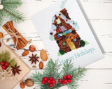 Sea Glass Gingerbread House Happy Holidays Cards - Seaglass Art Mosaic Ginger Bread House Print - Single, Pack 8, or Pack of 12