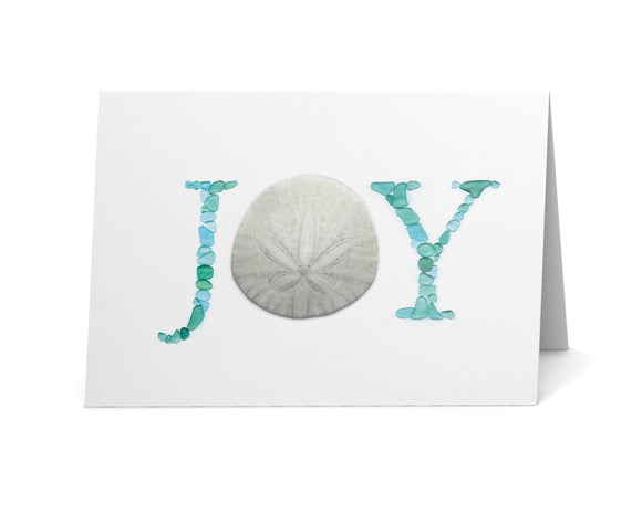 Sea Glass JOY Holiday Cards - Seaglass Art Sand Dollar and Sea Glass Letters Print - Single, Pack of 6, 12, or 24