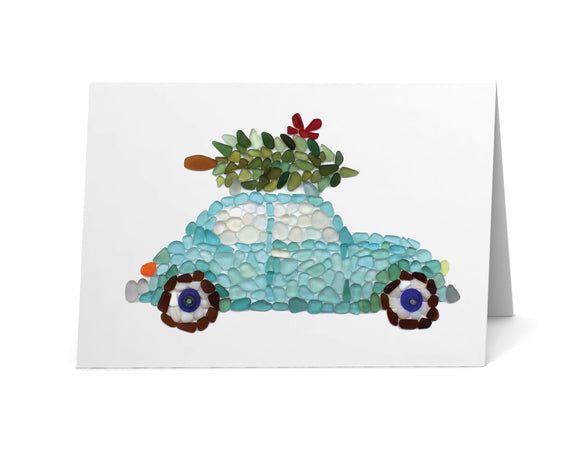 Sea Glass Car with Christmas Tree on Roof Cards - Seaglass Art Print Classic Car - Beach Glass Mosaic - Single, Pack of 6, 12, or 24
