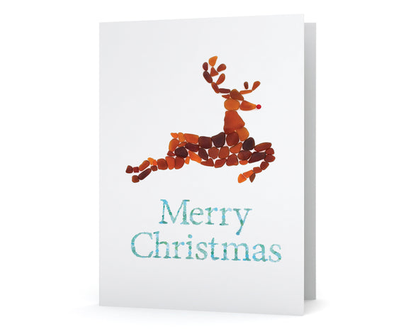Sea Glass Reindeer Christmas Cards - Seaglass Art Mosaic Rudolph Print - Single, Pack of 6, 12, or 24