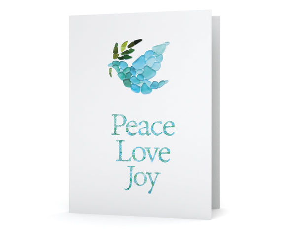 "Sea Glass Dove ""Peace Love Joy"" Holiday Cards - Seaglass Art Mosaic Dove with Olive Branch Print - Single, Pack of 6, 12, or 24"