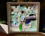 Designer Stand Up Bling Beach Glass Display - White or Wood