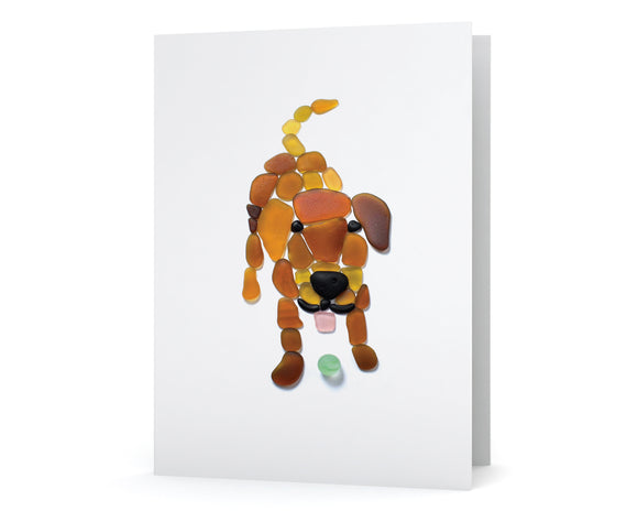 Sea Glass Dog Card