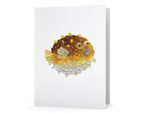 Sea Glass Pufferfish Card