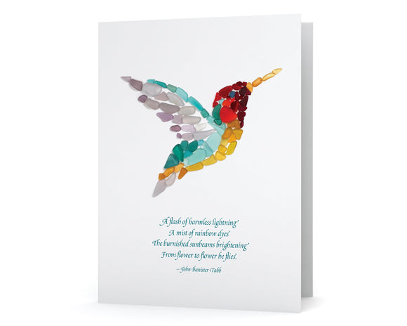 Sea Glass Hummingbird Note Card - Poem by John Banister Tabb