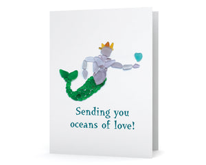 Sea Glass Merman Oceans of Love Card - Seaglass Art Mosaic King Triton with Seaglass Heart, Great for Wedding, Anniversary, Valentine's Day