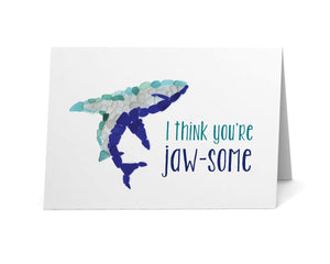 "Sea Glass Shark ""I Think You're Jaw-some!"" Card"