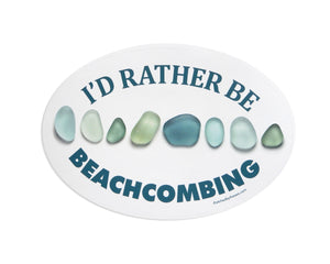 I'd Rather Be Beachcombing Laptop or Bumper Sticker - Turquoise