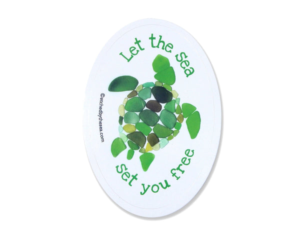 Sea Glass Turtle Sticker -  Die-cut Laptop or Bumper Sticker - Let the Sea Set You Free