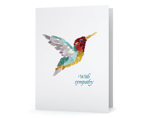 Sea Glass Hummingbird Sympathy Card - Seaglass Mosaic, Blank Inside