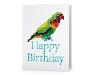Sea Glass Parrot Print Happy Birthday Card