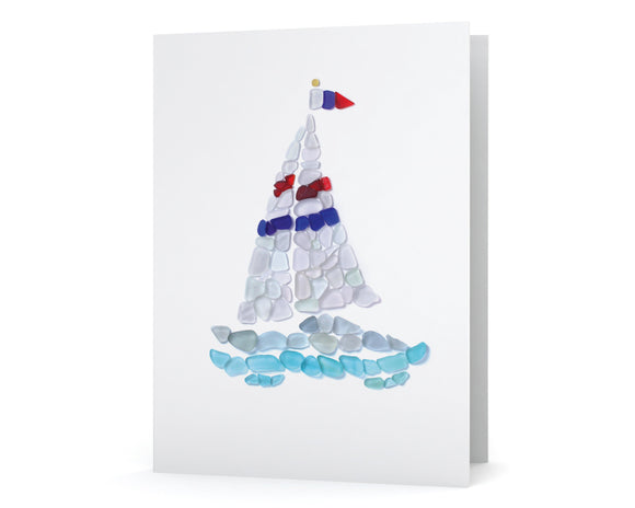 Sea Glass Sailboat Note Card - Blank Inside with Seaglass Mosaic Yacht on Front