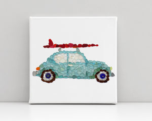 "Sea Glass Surf Car Canvas - 12x12"" Square Archival Seaglass Art Mosaic Print on High-quality Canvas Stretched on Wood Frame"