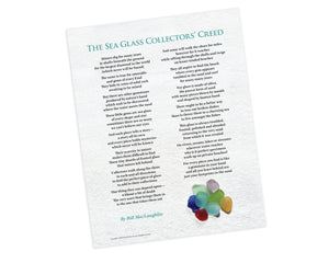 "Sea Glass Collectors' Creed Poster, 11x14"", thick glossy paper"