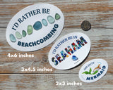 I'd Rather Be Beachcombing Laptop or Bumper Sticker - Beach Finds