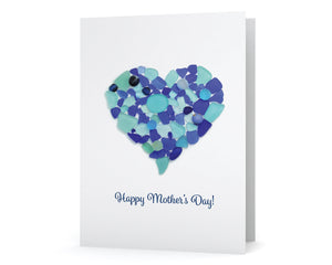 "Blue Sea Glass Heart ""Happy Mother's Day"" Greeting Card"