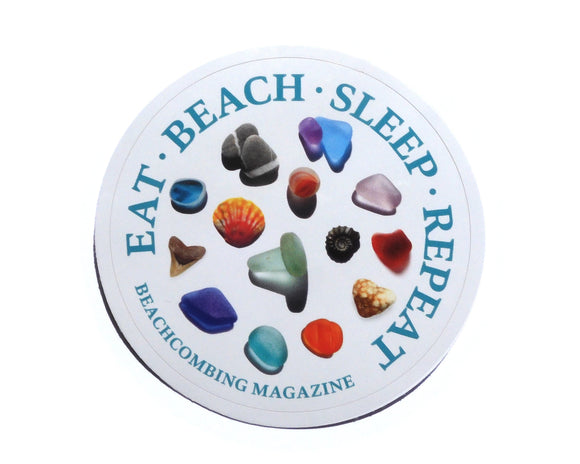 Eat - Beach - Sleep - Repeat Round Laptop or Bumper Sticker with Beachcombing Finds