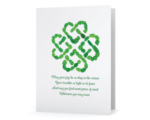 Sea Glass Heart Celtic Knot Note Card - May Your Joys Be as Deep as the Ocean - Irish Blessing
