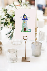 Sea Glass Lighthouse Wedding Table Numbers