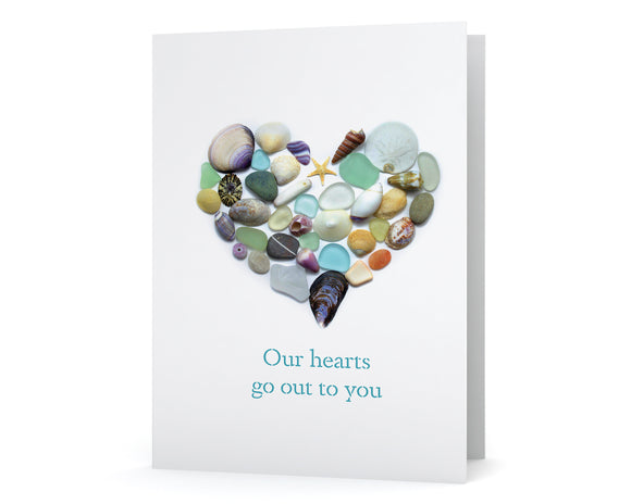 "Ocean Treasures Heart ""Our hearts go out to you"" Sympathy Card"