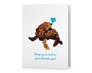 "Sea Glass Seal ""Hope you're back to  your old tricks soon!"" Get Well Card"