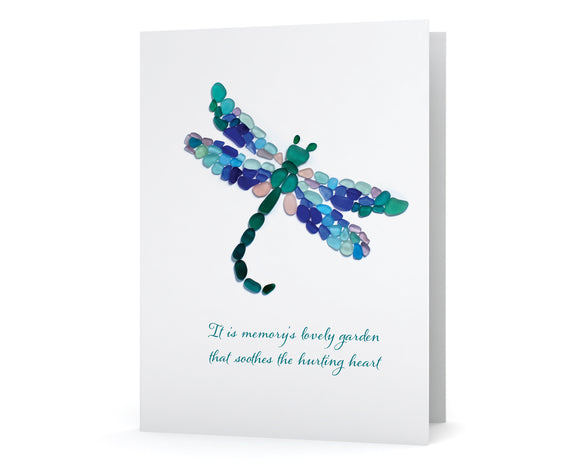 "Sea Glass Dragonfly Sympathy Card - ""It is memory's lovely garden that soothes the hurting heart"" - Blank Inside"