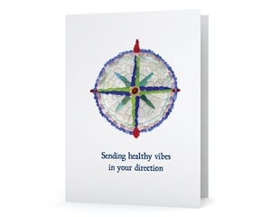 "Sea Glass Compass ""Sending healthy vibes  in your direction"" Get Well Card"