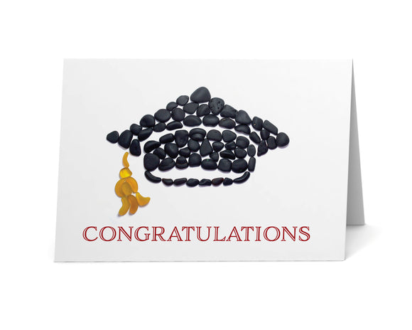 Sea Glass Graduation Cap Congratulations Card