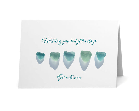 "Sea Glass Hearts ""Wishing You Brighter Days"" Get Well Card"