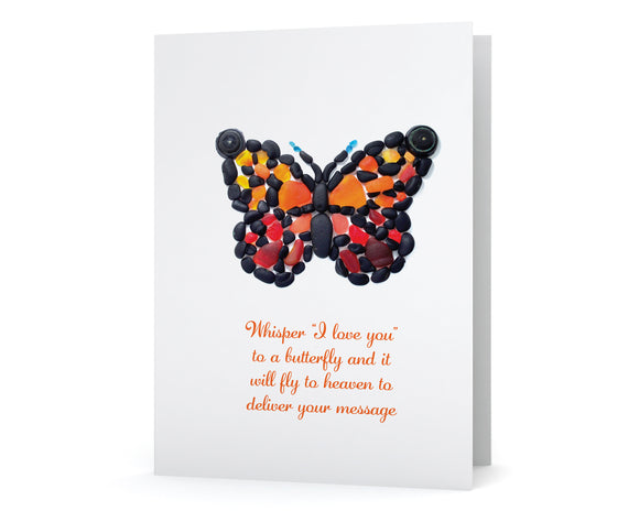"Sea Glass Butterfly ""Whisper I love you  to a butterfly and it  will fly to heaven to  deliver your message"" Sympathy Card"