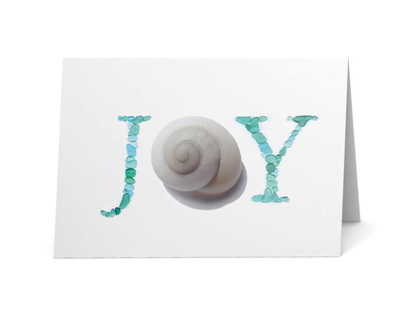 Sea Glass JOY Holiday Cards - Sea Snail and Sea Glass Letters Print - Seaglass Art - Single, Pack of 8, or Pack of 12