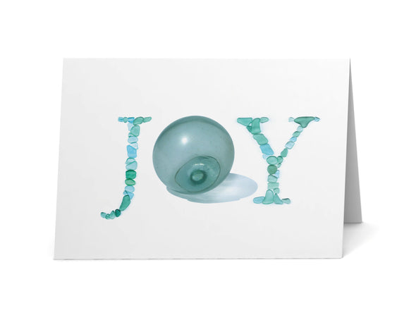 Sea Glass JOY Holiday Cards - Glass Float and Sea Glass Letters Print - Seaglass Art - Single, Pack of 8, or Pack of 12