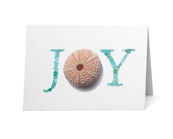 Sea Glass JOY Holiday Cards - Pink Sea Urchin and Sea Glass Letters Print - Seaglass Art - Single, Pack of 8, or Pack of 12